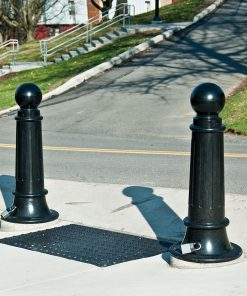 Five R-7589 decorative bollards in front of building entrance