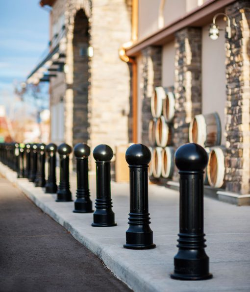 R-7592 decorative bollards in front of building