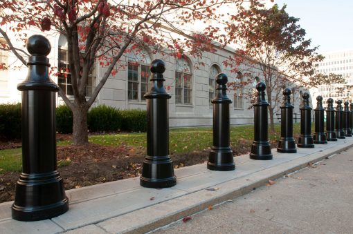 R-7593 decorative bollard in front of maple trees