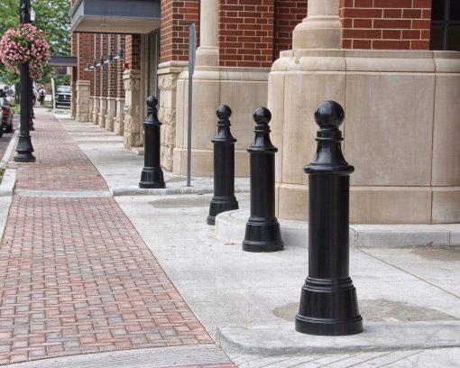 R-7593 decorative bollards along sidewalk