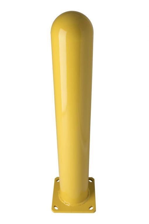 Yellow R-7642 bolt down bollard with flanged base