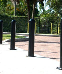 Black R-7648 bolt down bollards outdoors