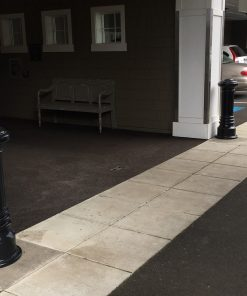 R-7691 decorative bollards in front of entranceway