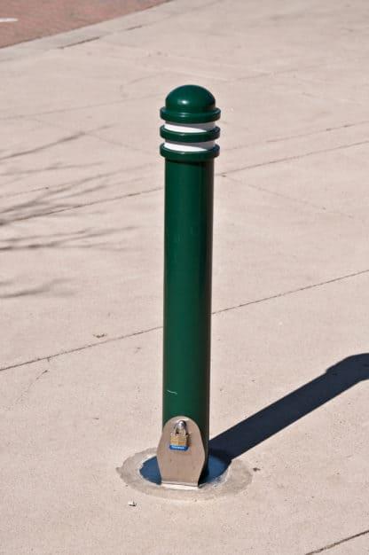 Green R-7901 steel bollard