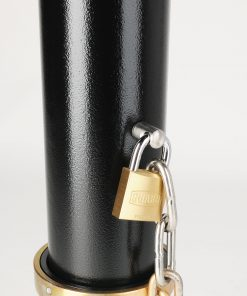 R-7905 post and ring bike bollard with removable mount with hinged lid