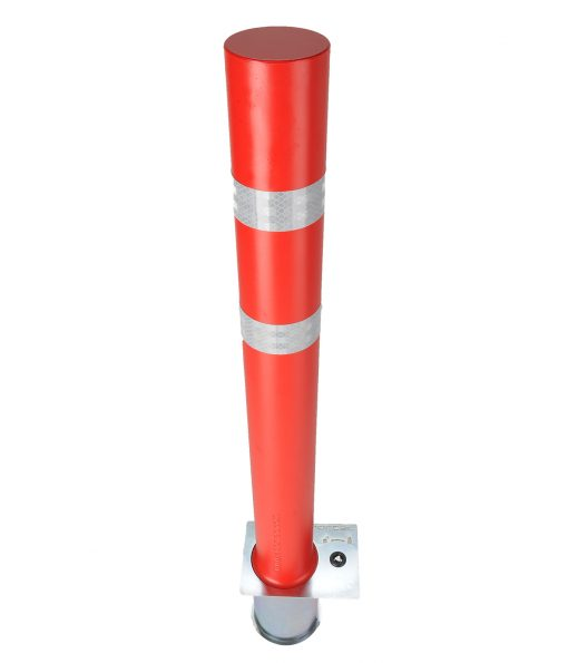 Red R-8302 flexible fixed bollard with white reflective strip
