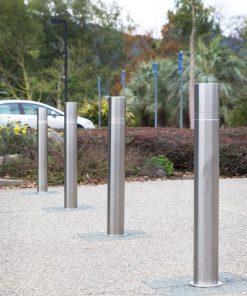 Four R-8460 stainless steel bollards