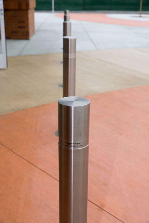 R-8460 stainless steel bollards on street