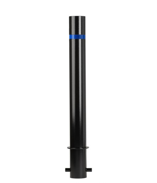 R-8460 stainless steel bollard in black with blue reflective strip