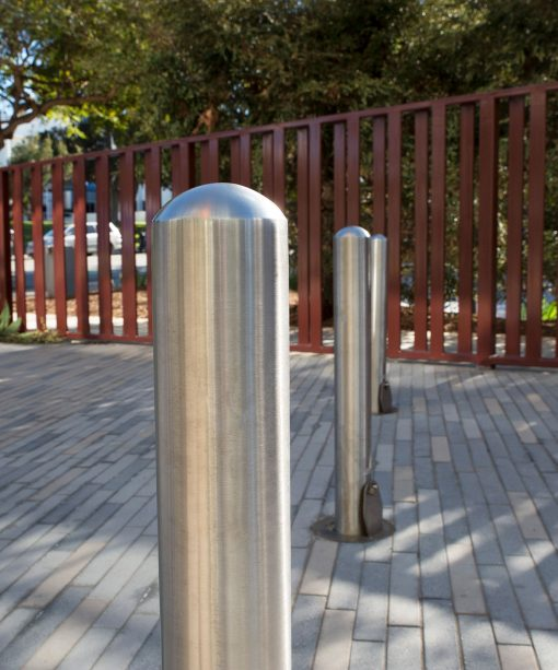 R-8902 stainless steel bollards outdoors