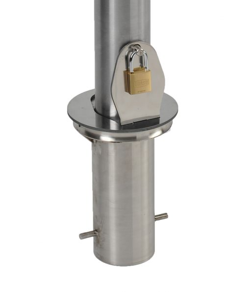 R-8904 stainless steel bike bollard's removable mount with hinged lid