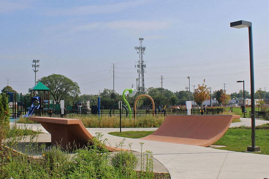 A purpose built sculpture has pipe and slide elements for skaters to use