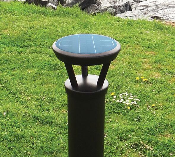 Solar bollard on grass