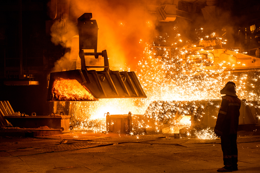 Blast furnace making steel