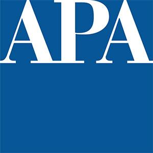 Blue square logo with APA