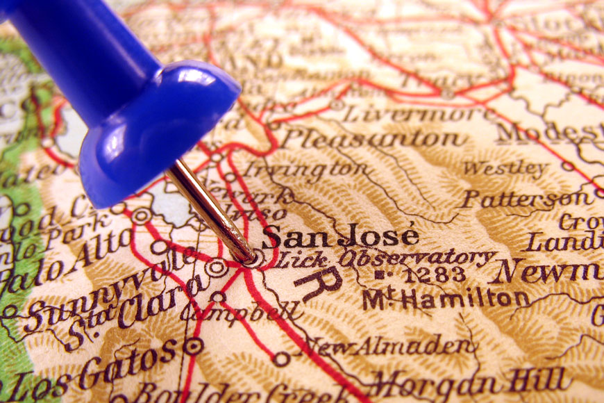 A picture of a map with a pin in San Jose