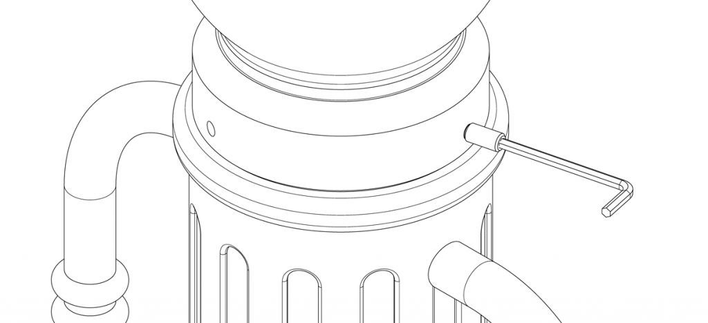 Diagram of cap on the bike bollard base