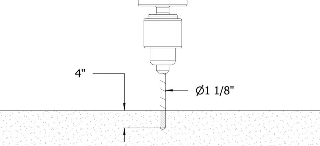 Diagram of a drill drilling into concrete