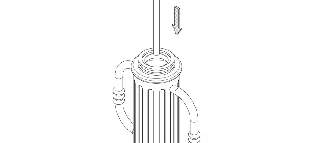 Diagram of threaded rod lowered through the bike bollard's shaft