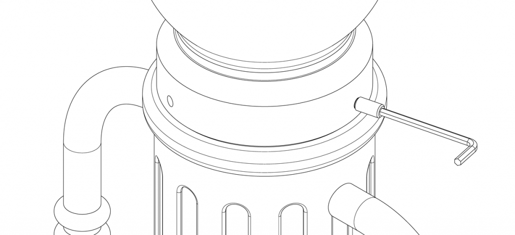 Diagram showing cap on top of bike bollard cover