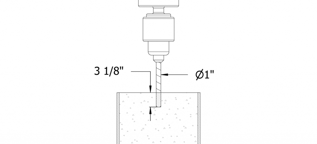 Diagram showing drilling