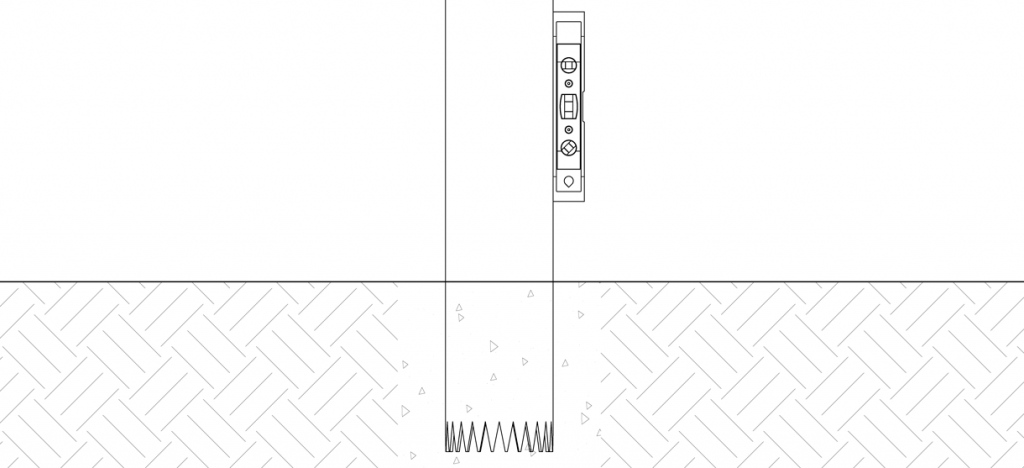 Diagram showing pipe bollard with level