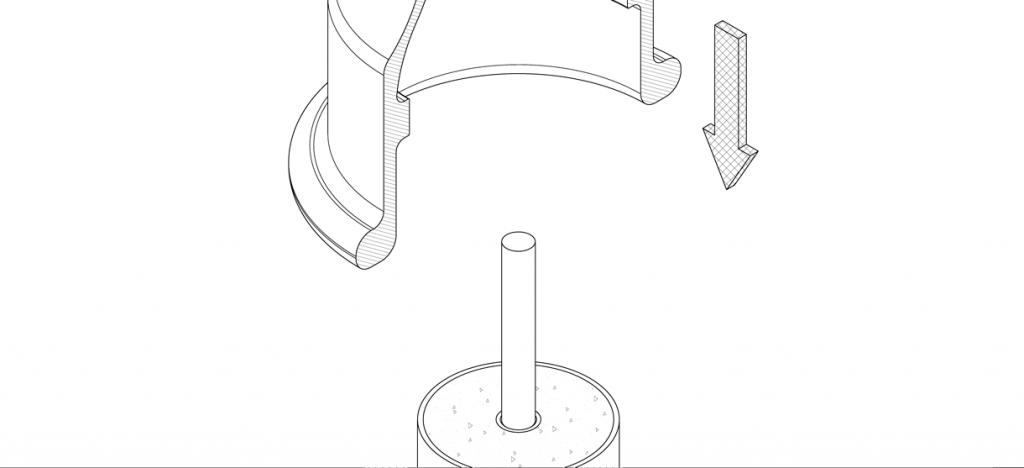 Diagram showing bike bollard cover lowered over pipe bollard