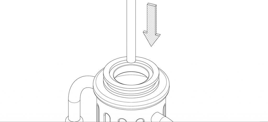 Diagram showing threaded rod lowered through bike bollard cover