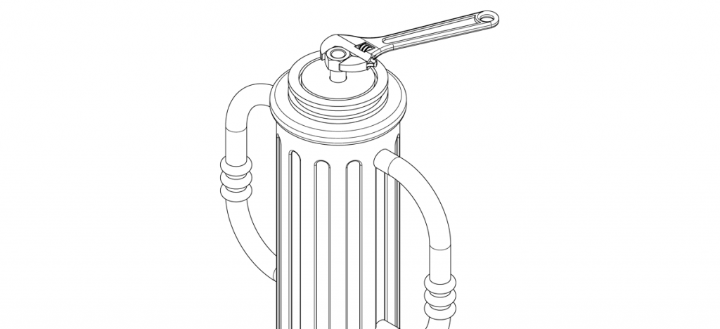 Diagram showing washer over threaded rod and tightened with nut