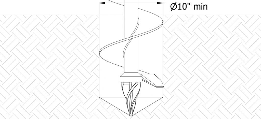 Diagram of auger digging hole