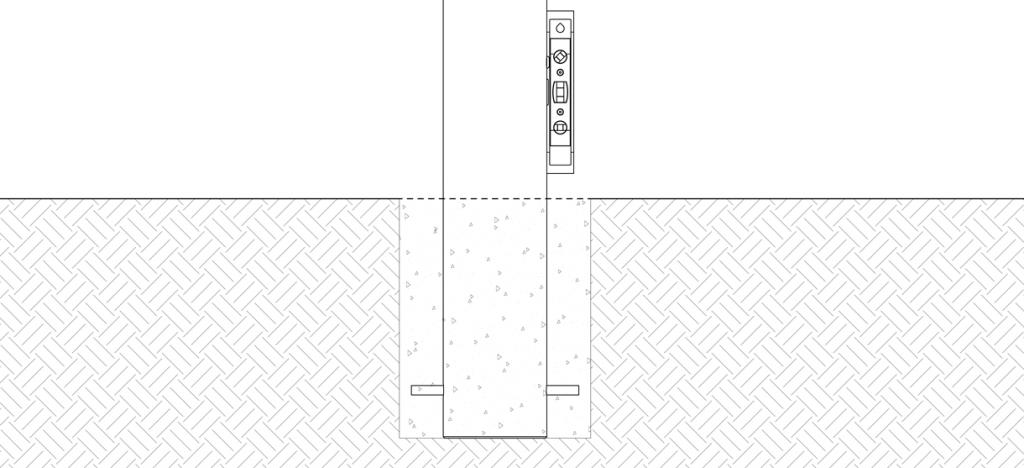 Diagram of bike bollard in concrete