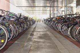 Large sheltered bike parking facility