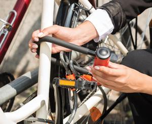U-lock is used to secure a bike