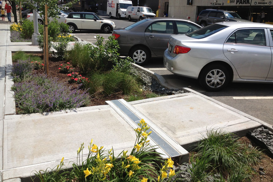 A strip of trench drain bisects a small walkway and brings water to bioswales on either side.