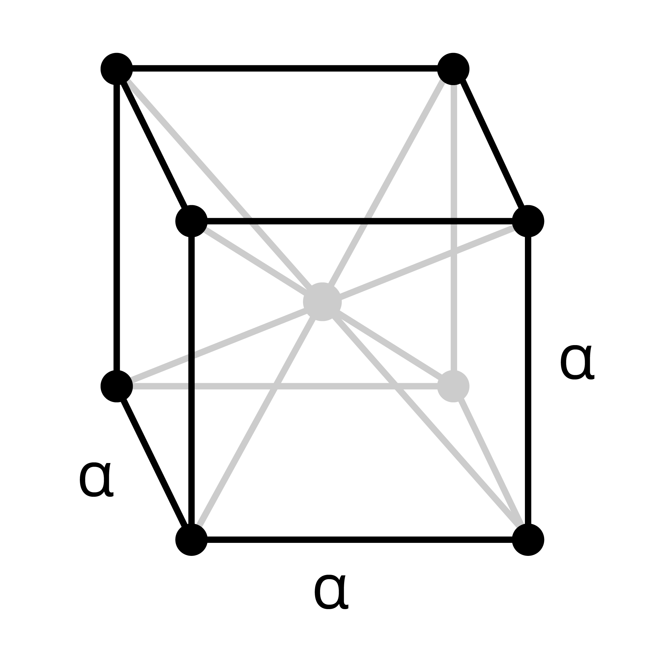 Wireframe shape of a body centered cubic structure with points at each corner and a single point nestled inside
