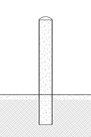 A diagram of installing a steel pipe bollard into existing concrete
