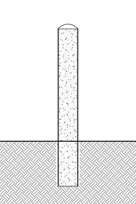 A wireframe sketch of an embedded steel pipe bollard