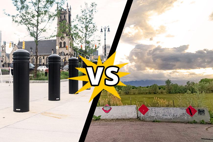 Bollards near a church vs. jersey barriers between a highway and a field