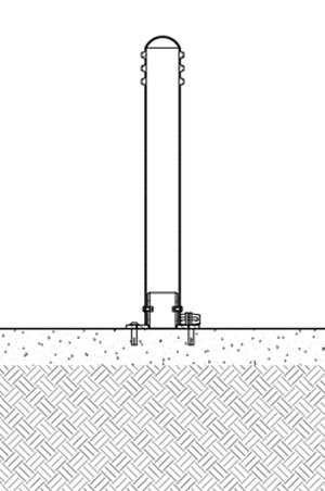 A diagram of a foldable bollard being fixed with four bolts on concrete
