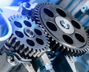 Two carbon steel gears
