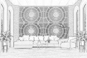 Cast iron plates decorate a brick wall in a black and white sketch of a living room