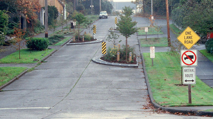 Chicanes in a residential area
