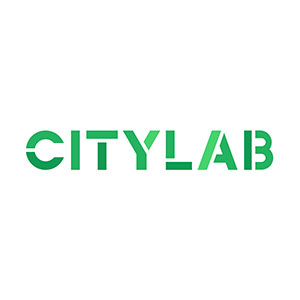 A green C logo with a slice through the center on a white background