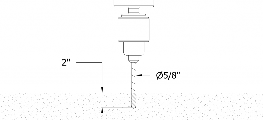 Diagram showing a hole being drilled with a 5/8 inch diameter and 2 inch depth