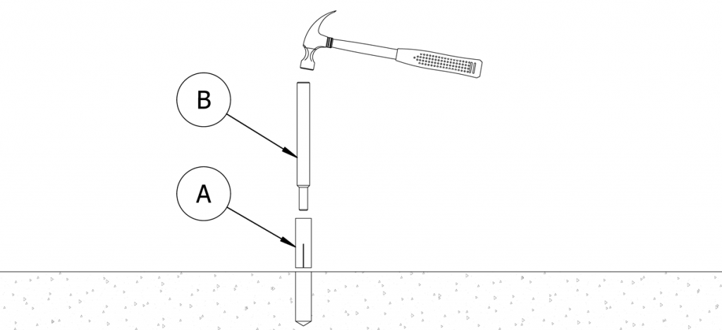 Diagram showing the setting tool setting the concrete insert
