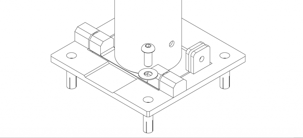 Diagram showing the washers over the holes on the base