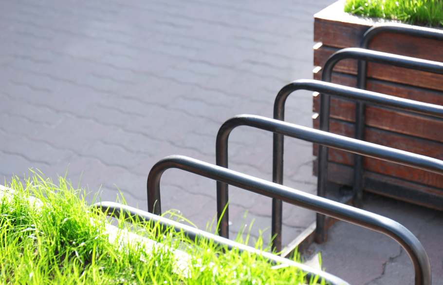 Empty rectangular industrial bike racks