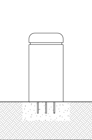 Diagram of a concrete bollard in existing concrete