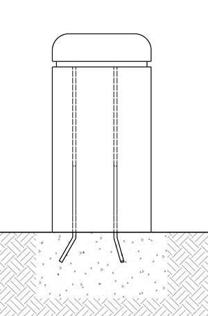 Diagram of a concrete bollard with steel rebars