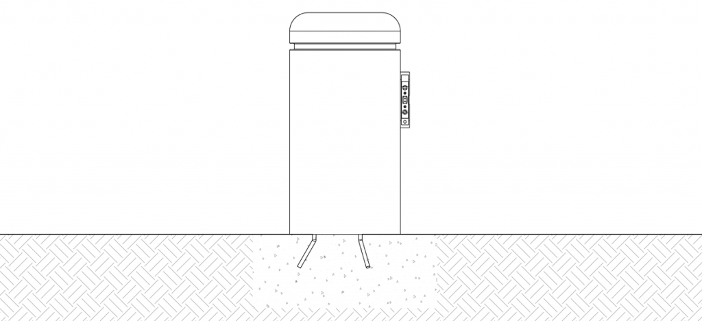 Diagram of bollard over the site